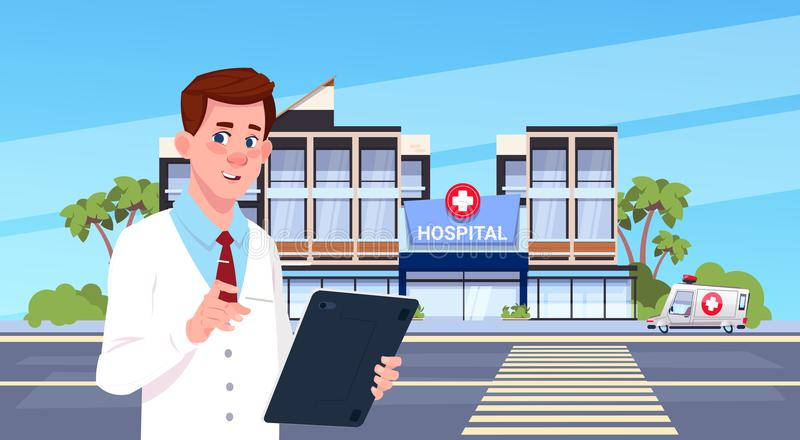 男性医生Standing Over Modern建立外部背景诊所概念的Hospital 向量例证