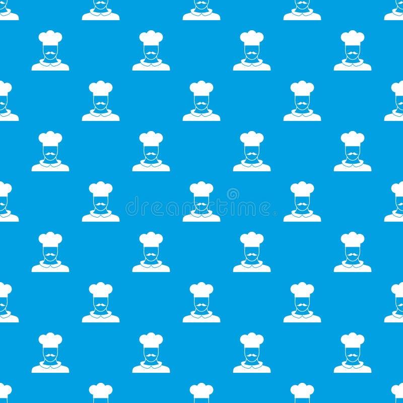男性厨师厨师样式无缝的蓝色 库存例证