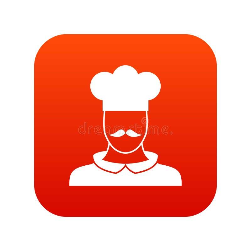 男性厨师厨师象数字式红色 库存例证