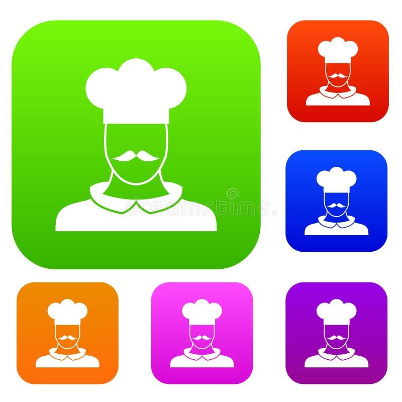 男性厨师厨师集合收藏 皇族释放例证