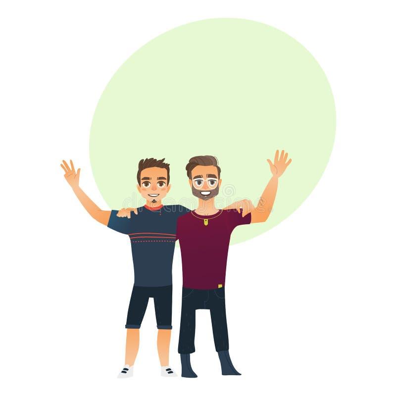 男性友谊-两个男孩,人,拥抱每其他的朋友,挥动图片