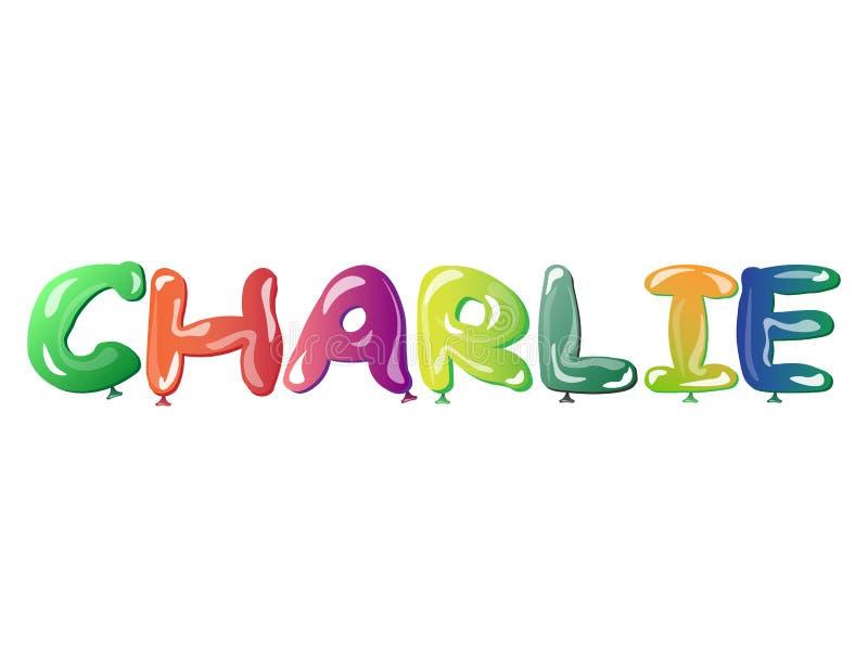 男性名字查理文本气球 库存例证