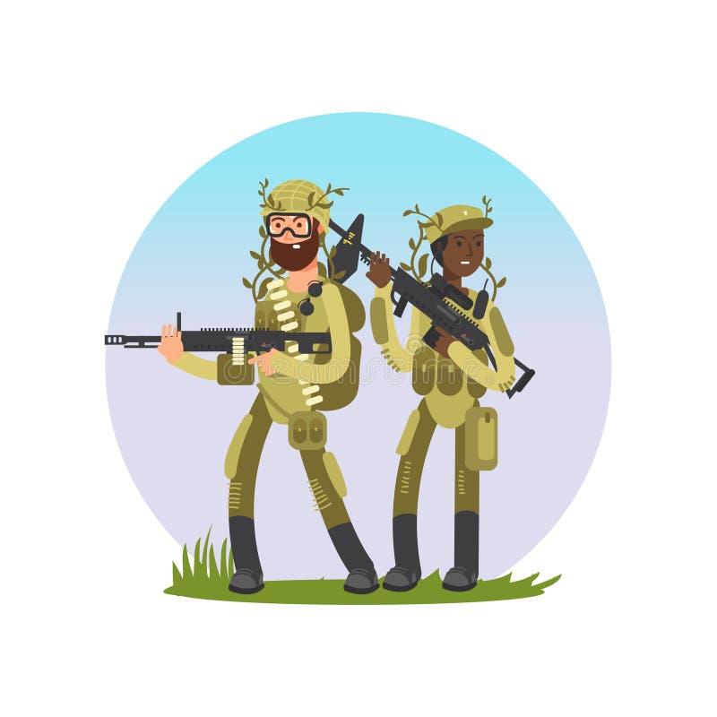 男性和女兵漫画人物设计 库存例证