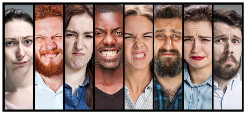 年轻男性和女性不快乐的面孔表示拼贴画  免版税库存照片