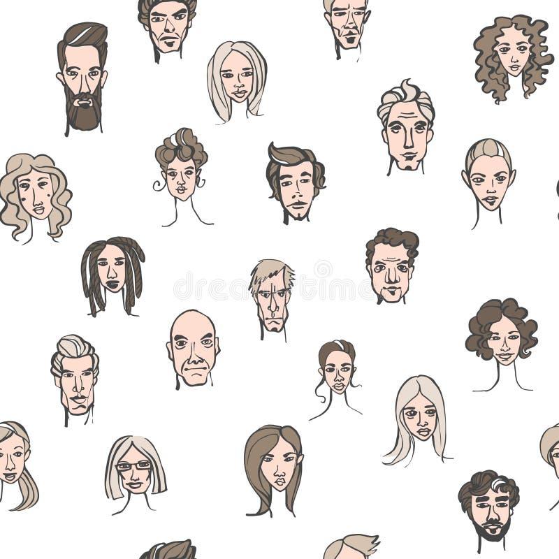 男性和女性乱画手拉的画象的无缝的样式 皇族释放例证