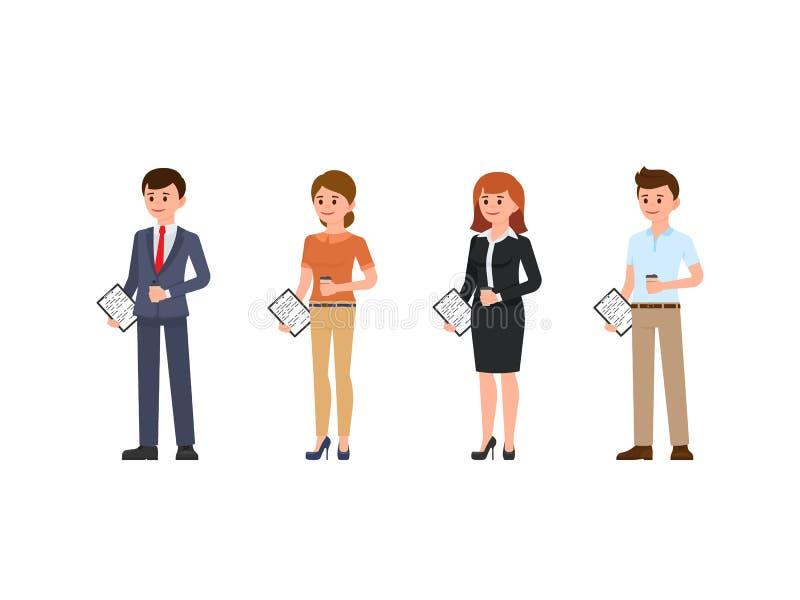 男性和女性办公室材料漫画人物 站立与咖啡的人们和笔记 向量例证