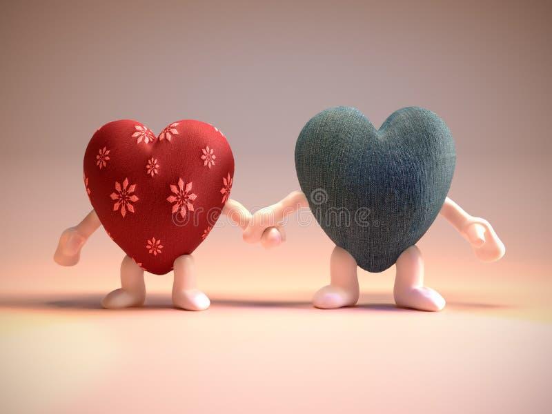 男性和女性心脏夫妇 皇族释放例证