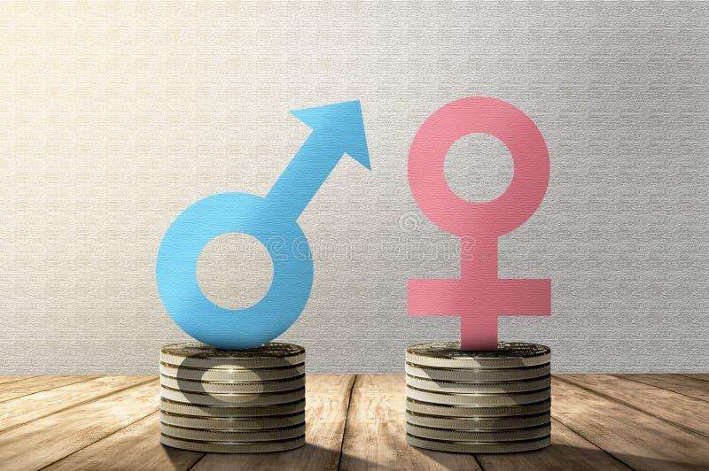 男性和女性性别标志在堆硬币与同样高度 库存例证