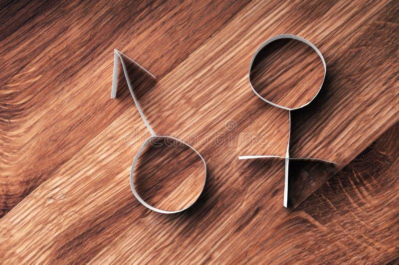 男性和女性性别标志,毁损和金星。 库存照片