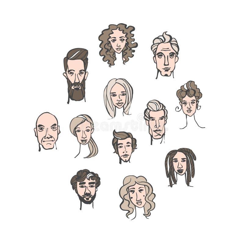 男性和女性手拉的乱画画象的无缝的样式 库存例证