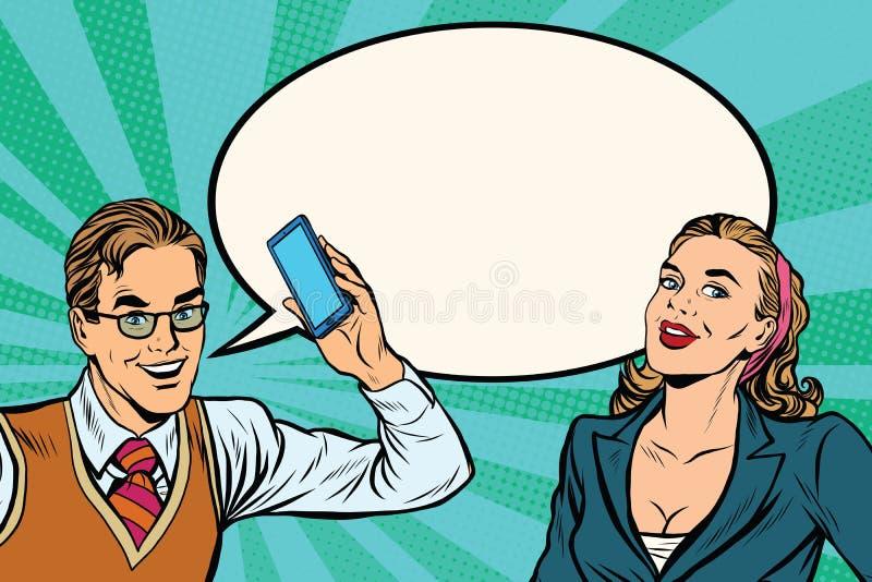 男性和女性手机对话 皇族释放例证