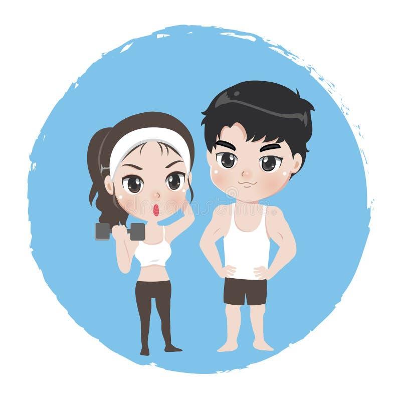 男性和女性是运动员好健康的 皇族释放例证
