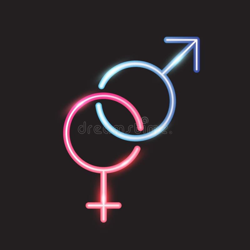 男性和女性标志,霓虹设计 库存例证