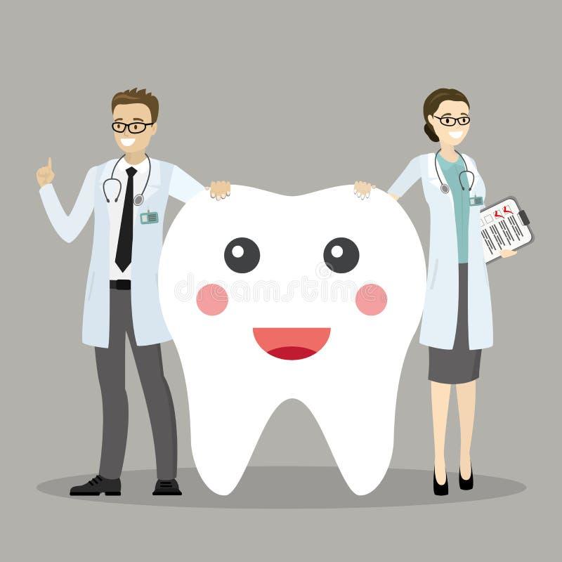 男性和女性牙医和一颗愉快的牙 库存例证
