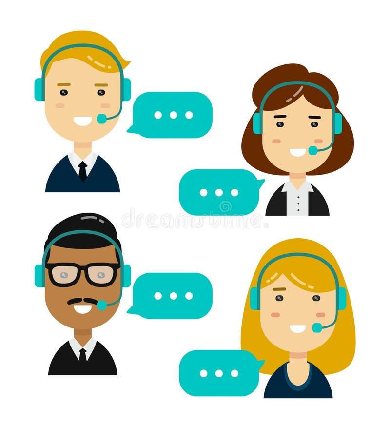 男性和女性电话中心 向量例证