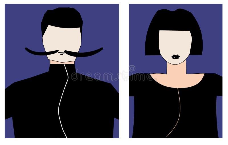 男性和女性的两具体化 男服髭,并且妇女有短的理发 免版税图库摄影