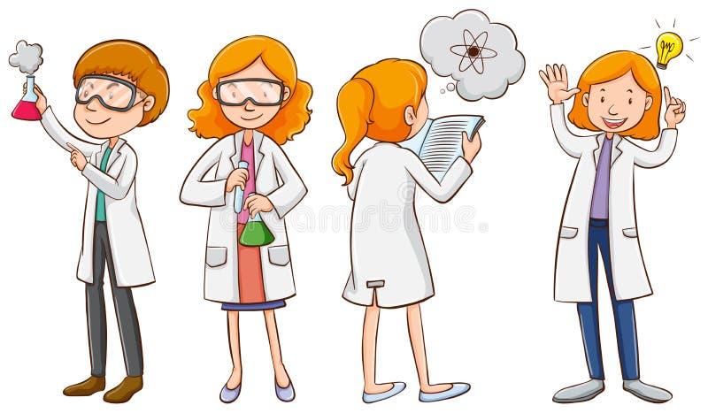 男性和女性科学家 库存例证