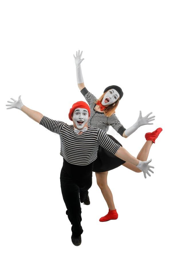 男性和女性笑剧跳舞 免版税库存图片