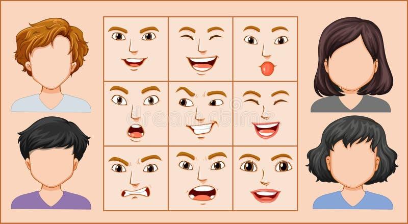 男性和女性表情 向量例证