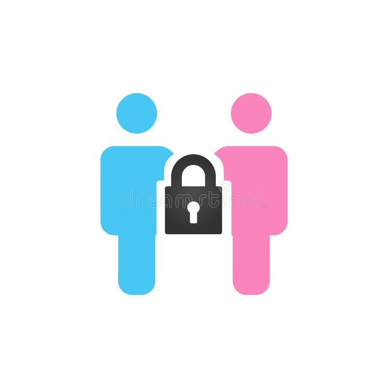 男性和女性象与一把锁在他们之间 家庭保护概念 背景钝齿轮例证查出的白色 皇族释放例证