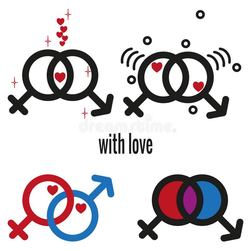 男性和女性象 与心脏标志的情人节元素 皇族释放例证