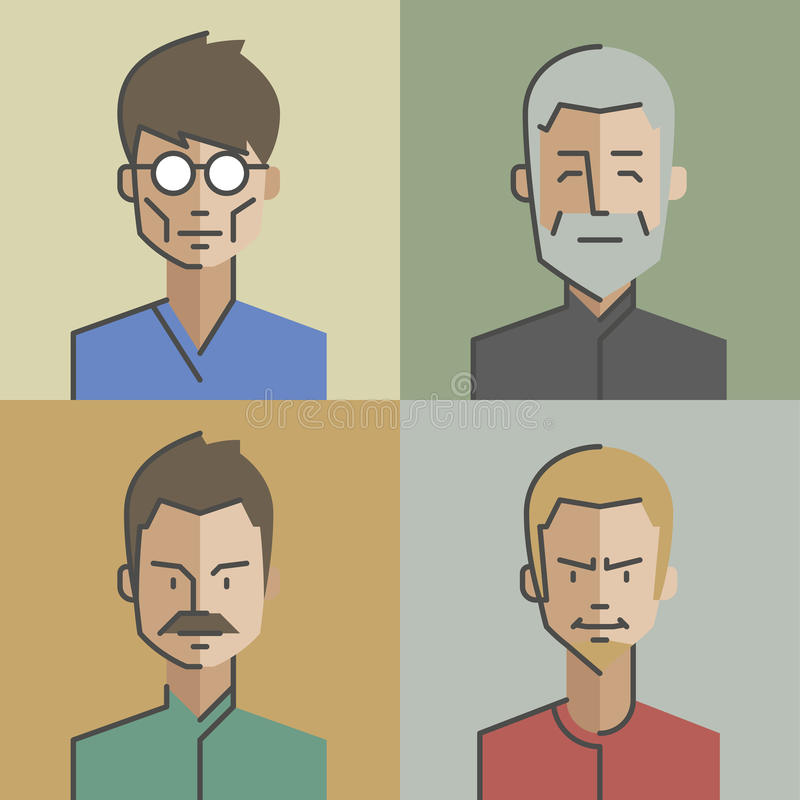 男性和女性面孔具体化设置了03 皇族释放例证