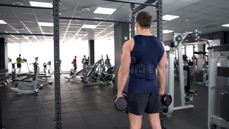 男性在健身房的爱好健美者举的哑铃,健康的,后面视图体育锻炼 免版税库存图片