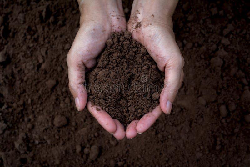男性在手上的拿着土壤种植的 概念许多生态的图象我的投资组合 库存图片