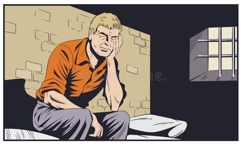 男性在监狱 人是在监狱格子后 E 向量例证