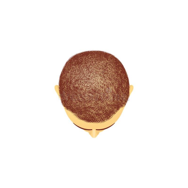 男性头发的顶头动画片样式顶视图  向量例证