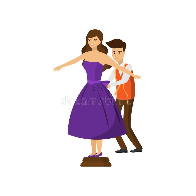 男性尝试在紫色礼服的裁缝和女性顾客隔绝在白色背景 库存例证