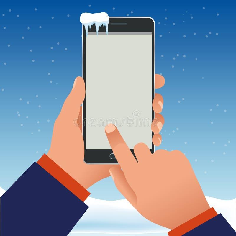 男性手在冬天拿着一个电话外面在霜 黑屏智能手机传染媒介例证 皇族释放例证