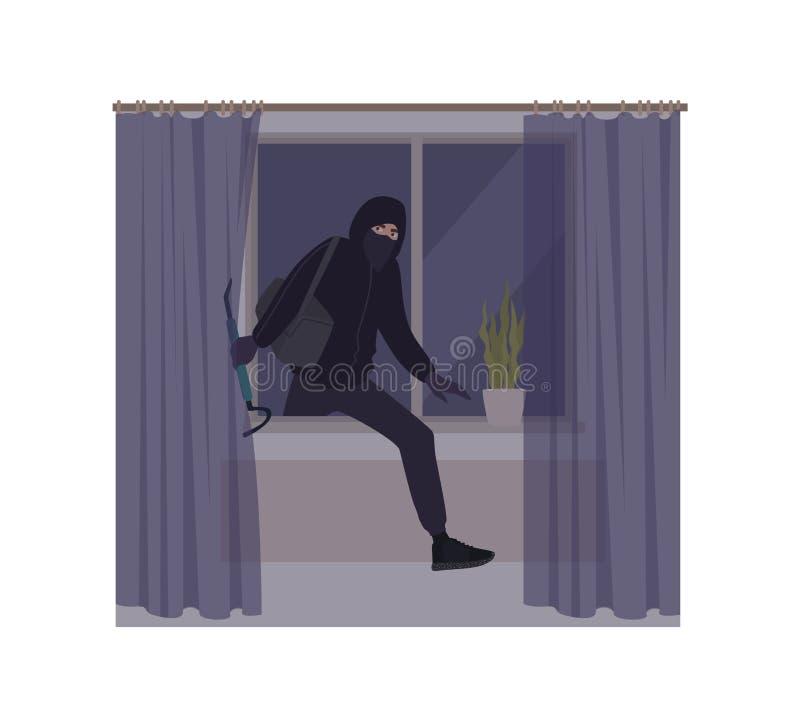 男性打破在房子或公寓里的夜贼佩带的面具和有冠乌鸦 偷窃、抢劫或者入屋行窃 窃贼,夜贼 皇族释放例证