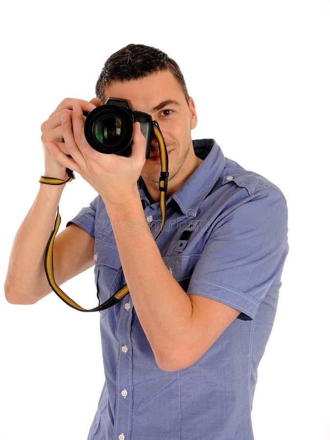 男性摄影师照片专业采取 免版税图库摄影