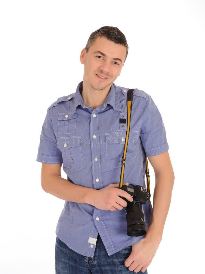 男性摄影师照片专业采取 免版税库存照片