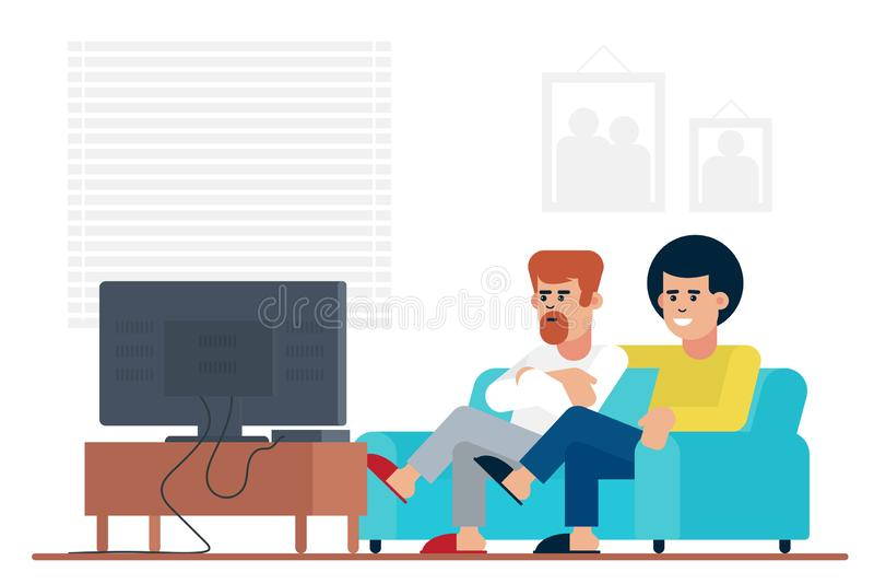男性朋友坐沙发和观看的影片在电视,当在家度过周末一起时 库存例证