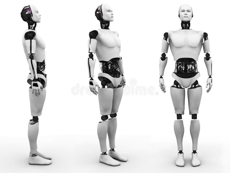 男性机器人身分,三个不同角度。 向量例证