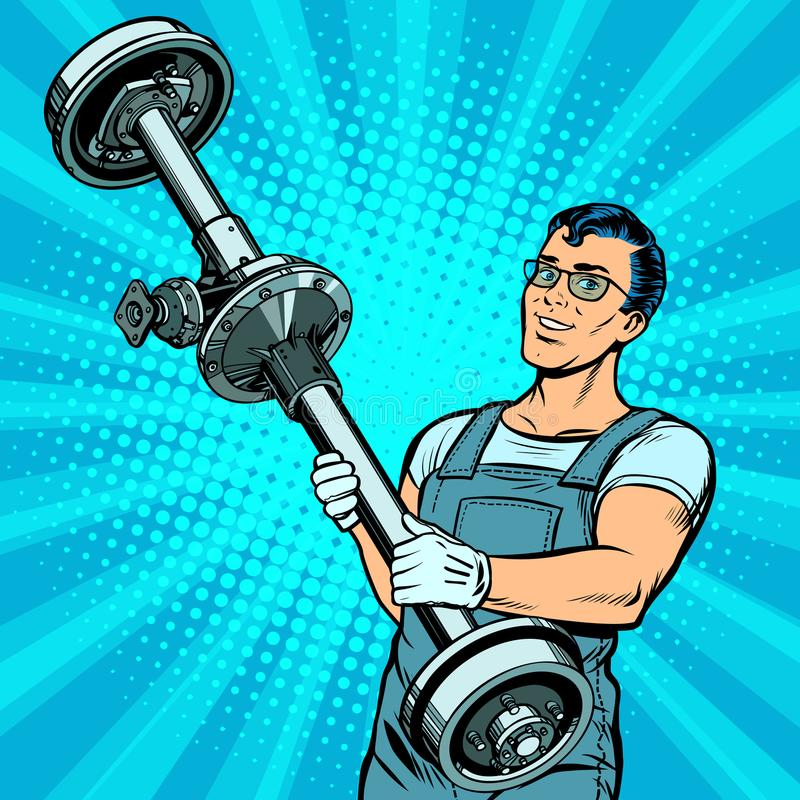 男性汽车修理师和后轴车 库存例证