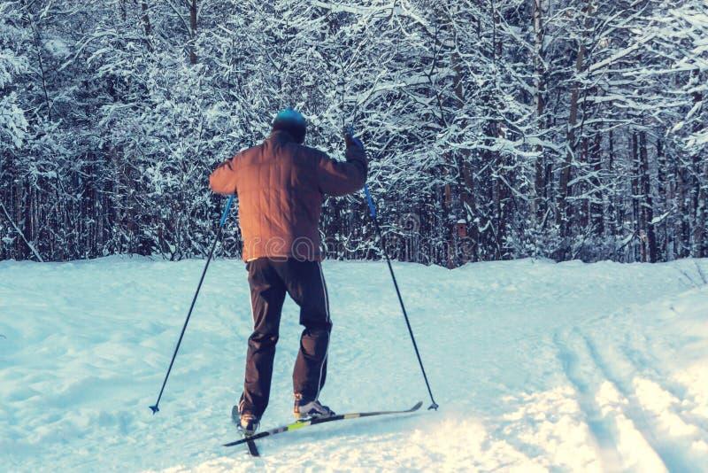 男性滑雪者乘驾在日落的冬天公园 库存图片