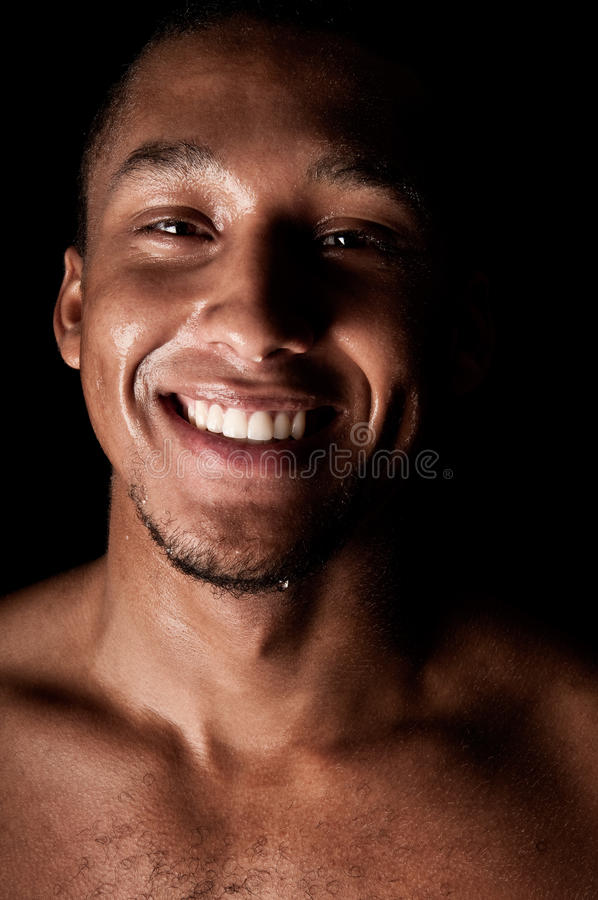 男性满身是汗的年轻人 库存照片