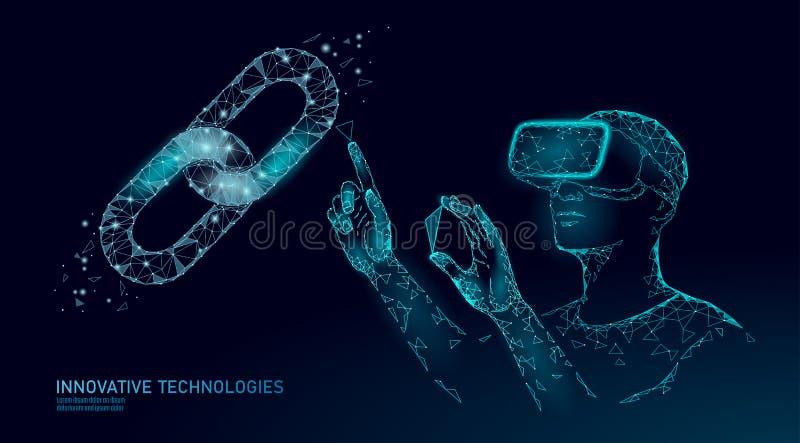 男性现代贸易商处理blockchain系统 虚拟现实协助管理数据操作 3D VR耳机 皇族释放例证