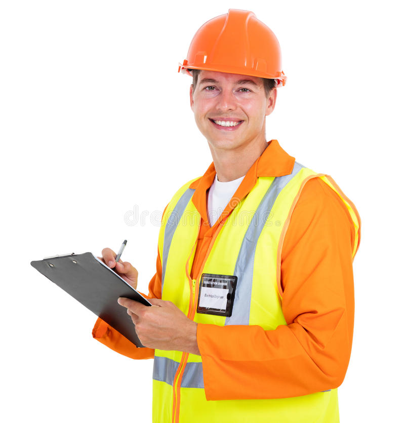男性电机工程师画象 免版税图库摄影