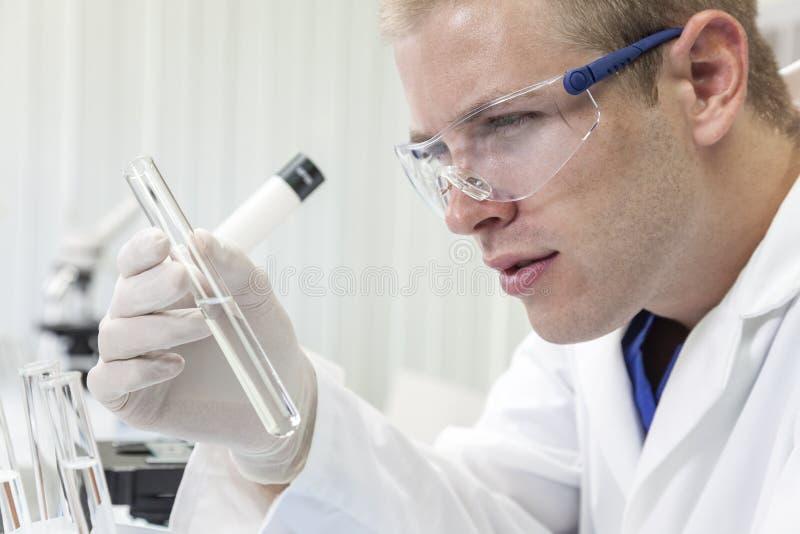 男性科学家或With医生试管在实验室 图库摄影