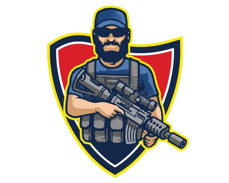 男性精华特种部队操作员运载的攻击浅滩动画片吉祥人商标徽章 向量例证