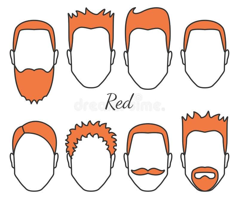 男性红色头发和面孔真菌称呼类型、另外头发裁减、髭和胡子,有红色头发的,人庄稼人头 向量例证