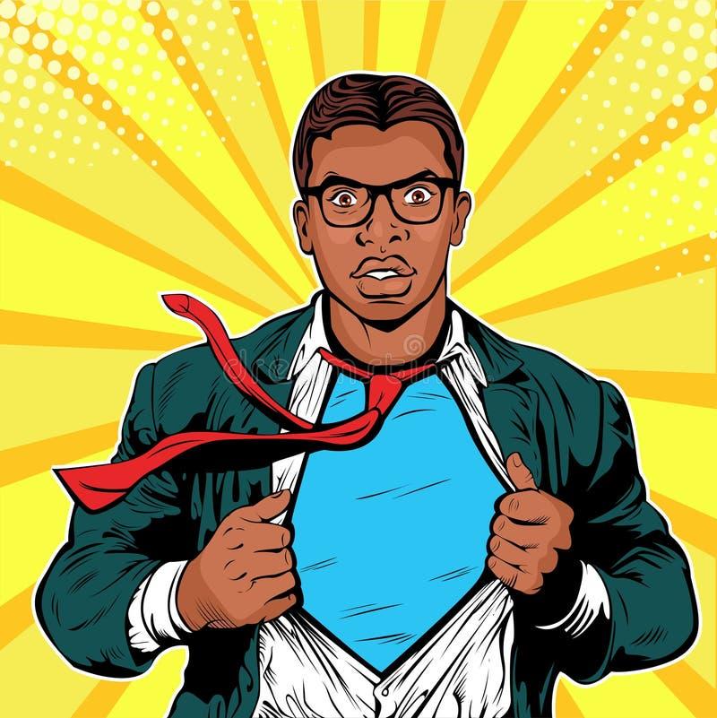 男性美国黑人的商人超级英雄流行艺术减速火箭的传染媒介例证 向量例证
