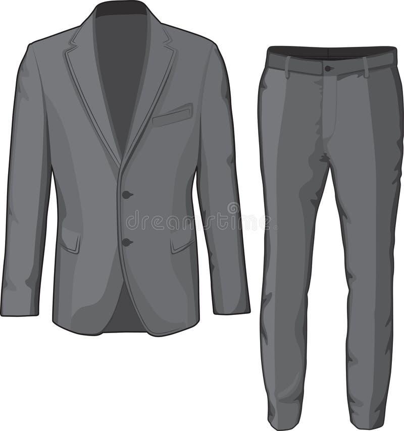 男性衣物衣服外套和裤子 向量 向量例证