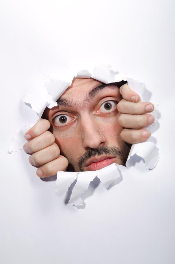 男性表面通过漏洞 免版税库存照片