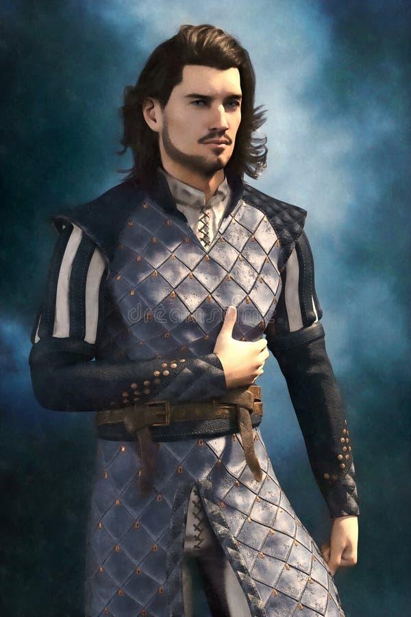 男性被说明的绘的样式英俊的中世纪幻想 库存例证