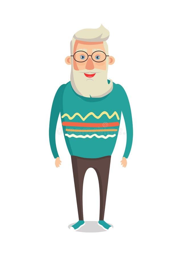 男性角色灰色头发胡子微笑的人传染媒介 向量例证